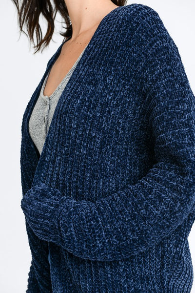 Navy Chenille Soft Textured Long Cardigan