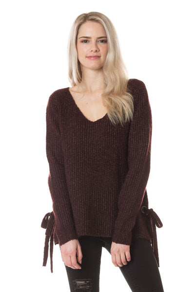 Long Sleeve V-Neck Side Tie Knit Sweater