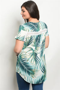 White Green Palm Print Plus Size Top