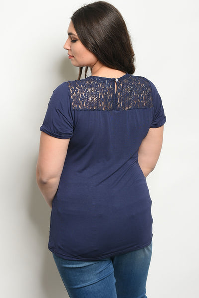 Navy White Embroidered Plus Size Top