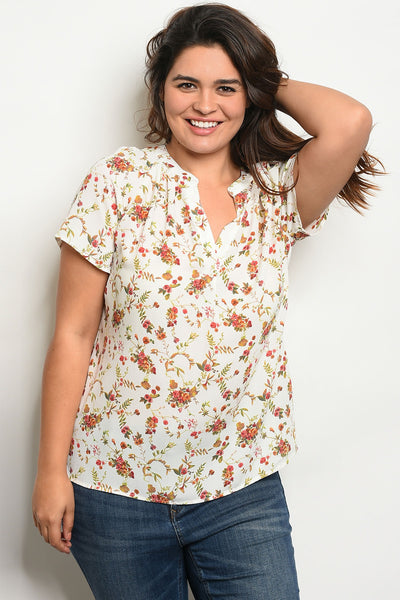 Ivory Floral Plus Size Top