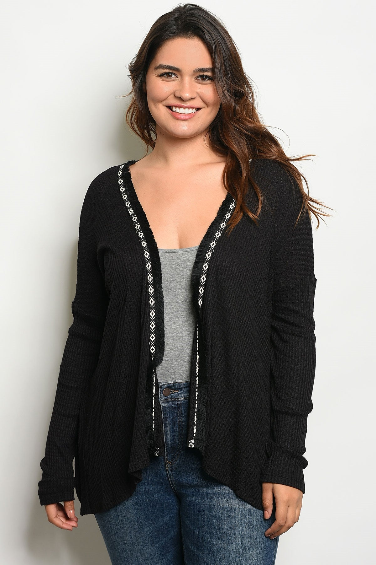Open Front Knit Plus Size Cardigan