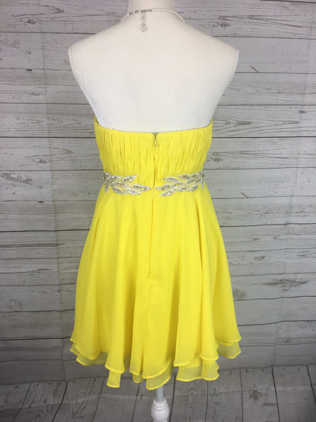 Strapless Yellow Side Embroidered Dress