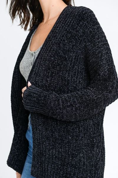 Black Chenille Soft Textured Long Cardigan