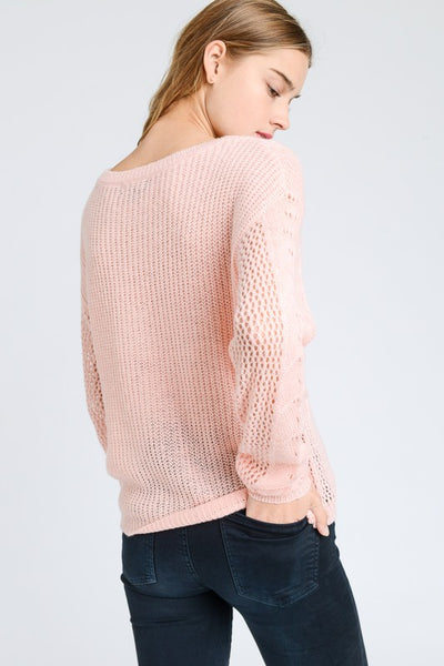 Pink Round Neck Cable Knit Sweater Top