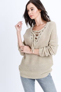 Laced Up Long Sleeve Sweater Top