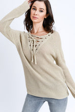 Load image into Gallery viewer, Laced Up Long Sleeve Sweater Top