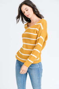 Twist Knotted Back Stripe Sweater Top