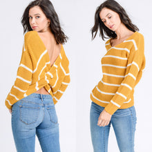 Load image into Gallery viewer, Twist Knotted Back Stripe Sweater Top