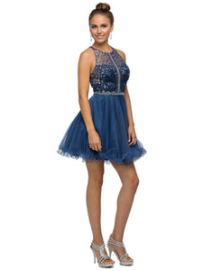 Jeweled Lace Bodice Dress