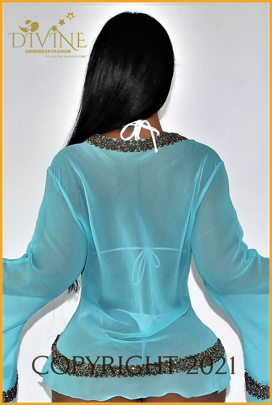 Dubai Blouse (Aqua) Small/medium / Aqua Cover Ups