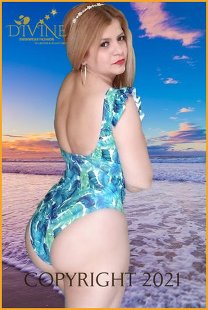 Blue Jungle Monokini One Piece Large / Print And