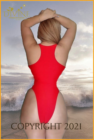 Corset Monokini One Piece (Blue) Medium / Red Monokinis