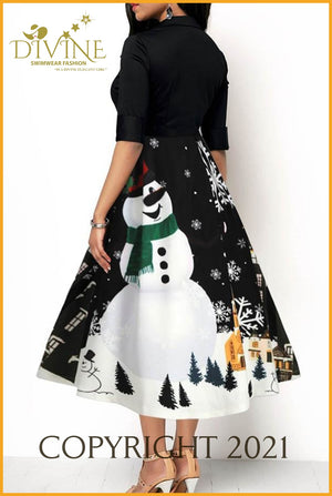 Snowman And Christmas Medium / Black Trending