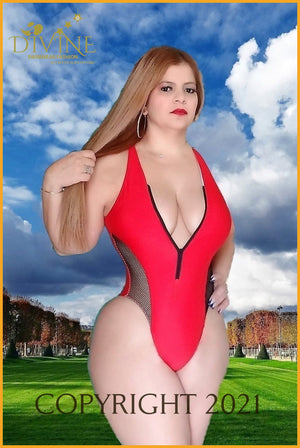Corset Monokini One Piece (White) Xlarge / Red Monokinis