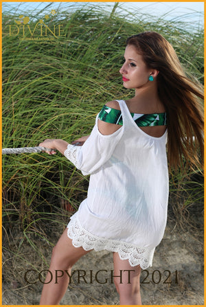 Princes Tunic Large / White Cover Ups