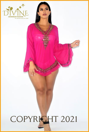 Dubai Blouse (Yellow) Small/medium / Fuchsia Cover Ups