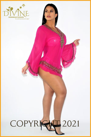 Dubai Blouse (Royal Blue) Small/medium / Fuchsia Cover Ups