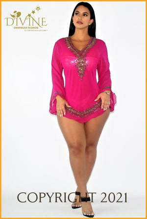 Dubai Blouse (Aqua) Small/medium / Fuchsia Cover Ups