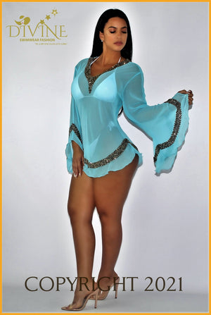 Dubai Blouse (Royal Blue) Small/medium / Aqua Cover Ups