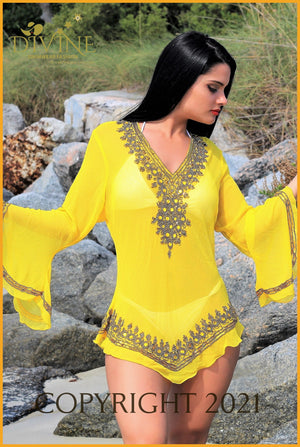 Dubai Blouse (Aqua) Small/medium / Yellow Cover Ups