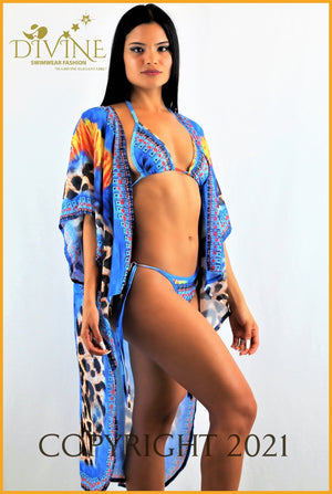 Cuban Bikini Set And Cover Up Small / Blue