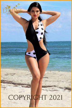 Black And White Polka Dot Monokini Monokinis