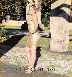 Queen Of The Night Bandage Dress Small / Gold Trending