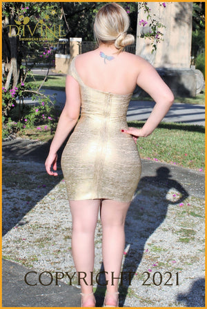 Queen Of The Night Bandage Dress Medium / Gold Trending