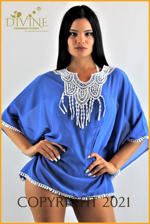 Paradise Poncho (Blue) One Size / Royal Blue Cover Ups