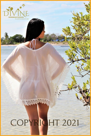 Goddess Of Glass Poncho Top One Size / White Cover Ups