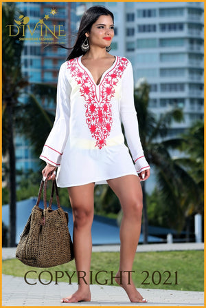 Riviera Maya Tunic (Blue) One Size / White & Red Cover Ups