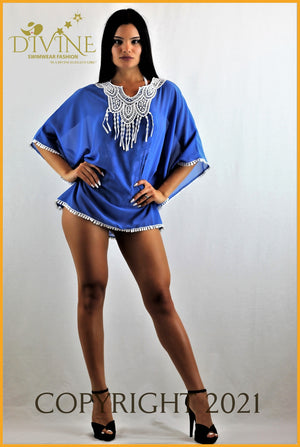 Paradise Poncho (Blue) Cover Ups