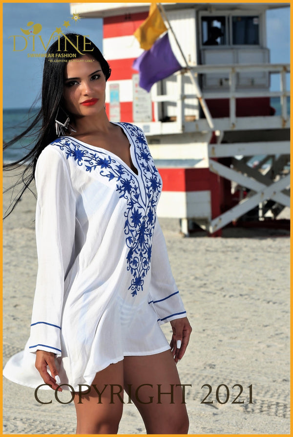Riviera Maya Tunic (Blue) One Size / White & Blue Cover Ups