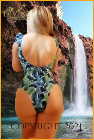 Blue Jungle Monokini One Piece
