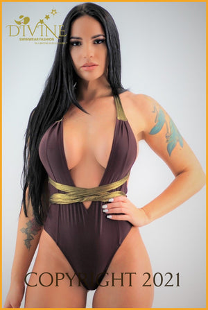 Havana Gold Monokini ( Brown) Medium / Brown Monokinis
