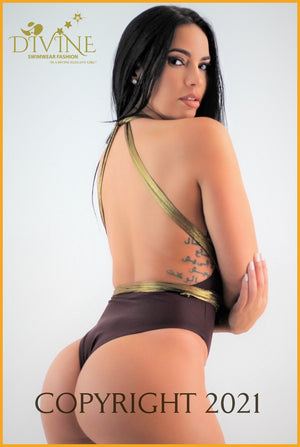 Havana Gold Monokini ( Brown) Xlarge / Brown Monokinis