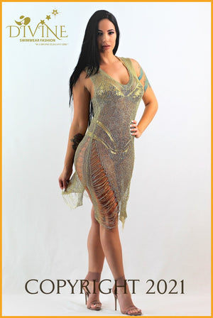 Jlo Dress Cover Up Small / Gold Ups