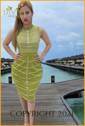 Divine And Perfect Bandage Dress Large / Green Trending