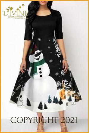 Snowman And Christmas Small / Black Trending