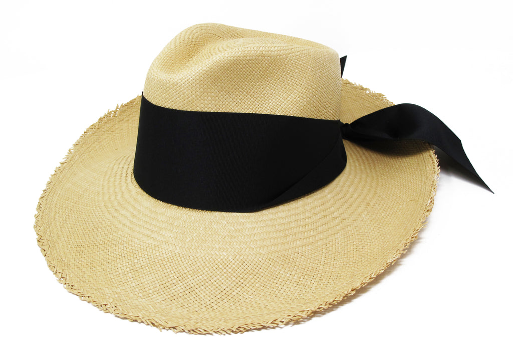 Aguacate Long Brim Frayed Panama Hat