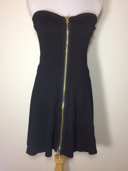 New Size 6 Juicy Couture Black Short Strapless Dress Mesh Zip