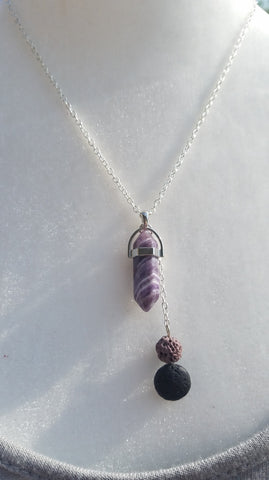Womens Diffuser Necklace- lava stones and Amethyst-N6