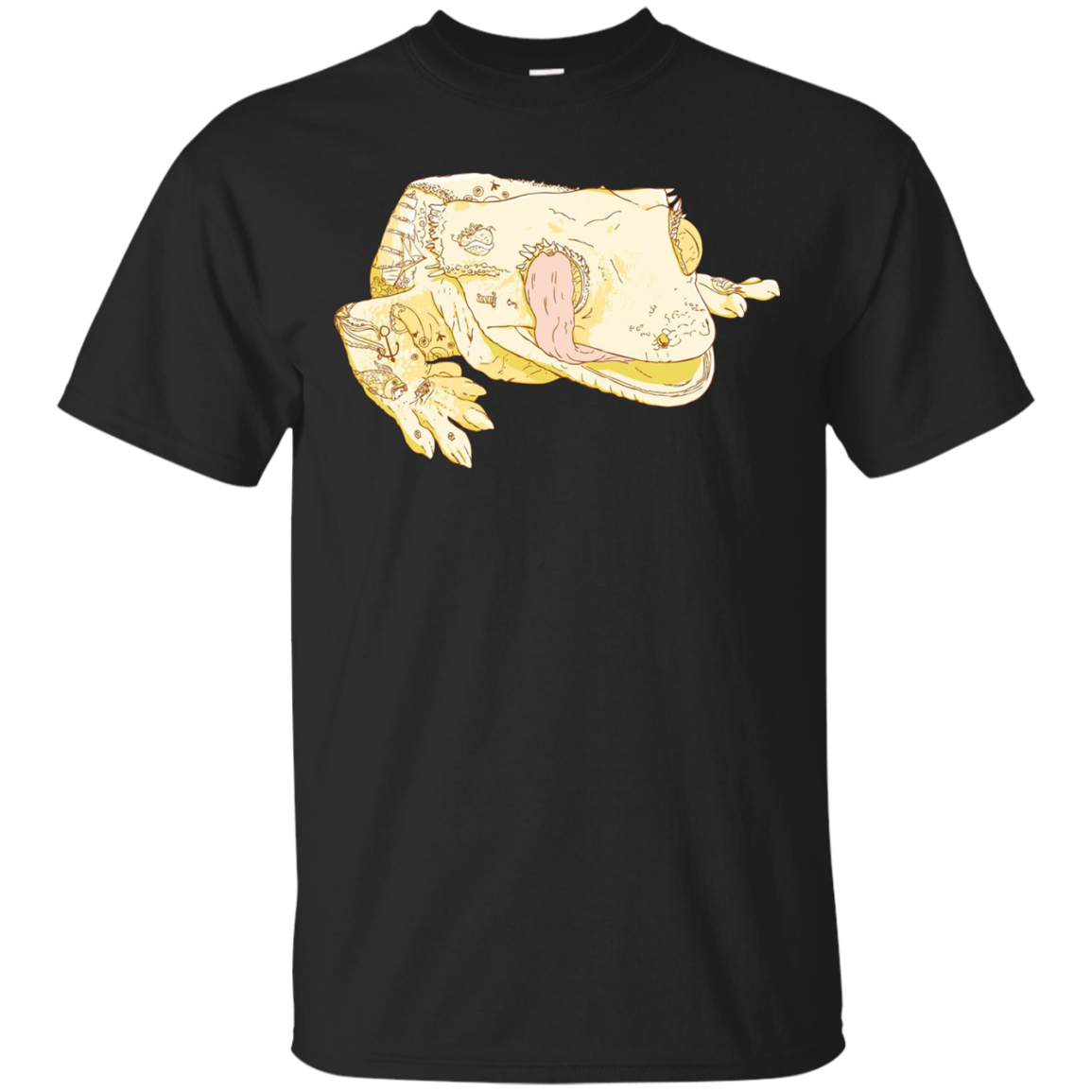 Crested Gecko Lizard with Tattoos Licking Eyeball T-Shirt