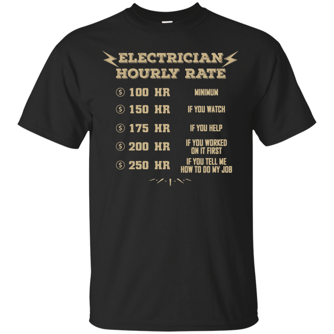 Electrician T-Shirt - Electrician Hourly Rate