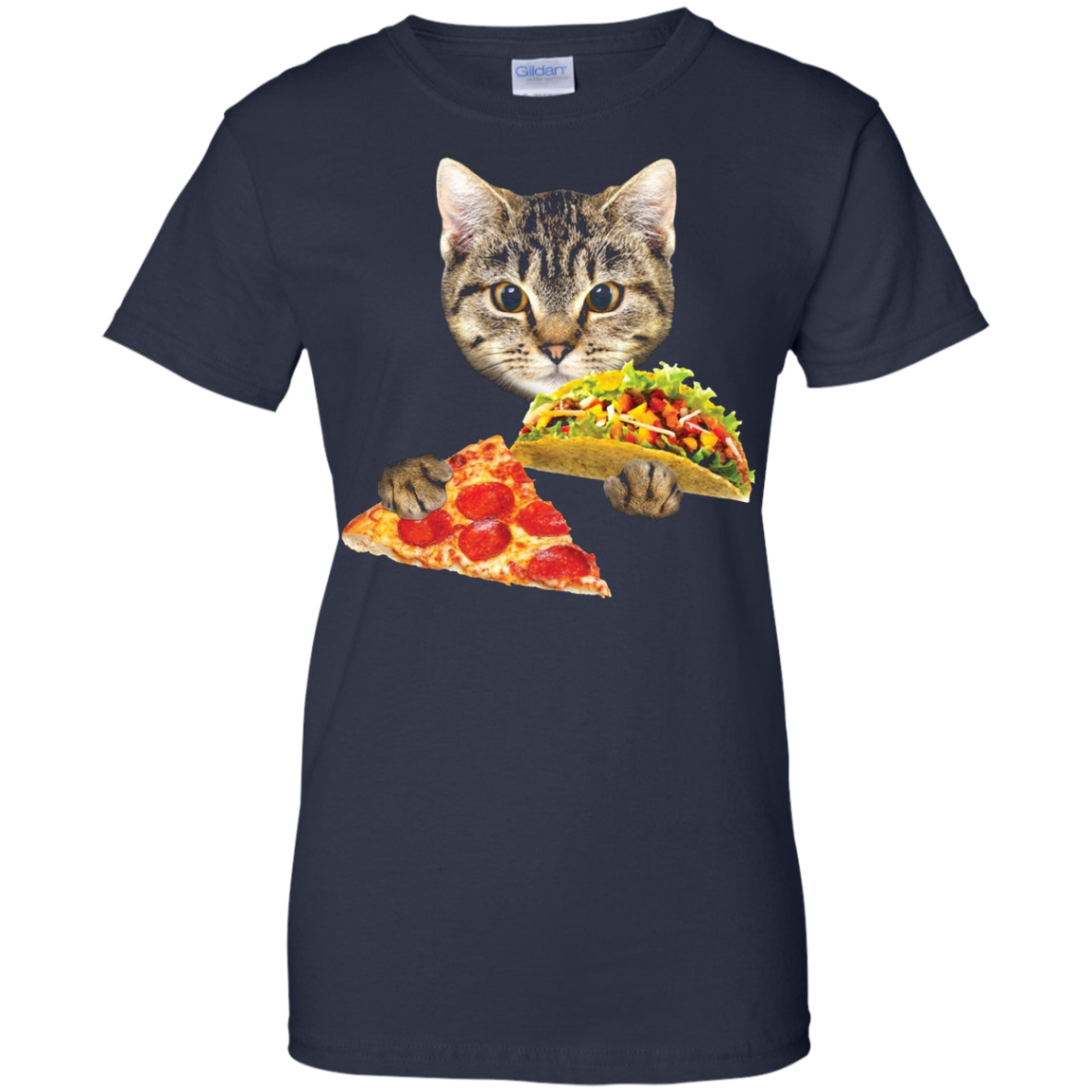 Cat Eating Taco and Pizza Shirt, Funny Kitty by Zany Brainy