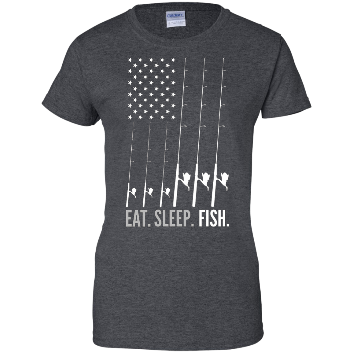 Eat Sleep Fish Fishing T-shirt With Beautiful American Flag
