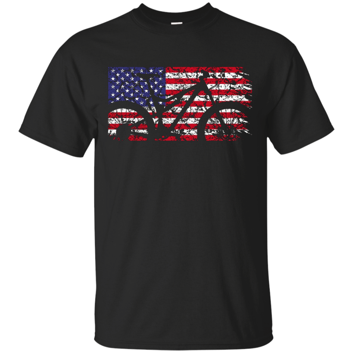 Mountain Bike American Flag Shirt - MTB USA Flag T-Shirt