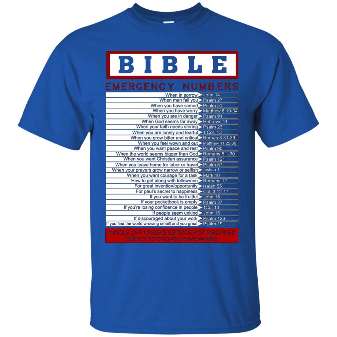 Bible emergency numbers T-Shirt