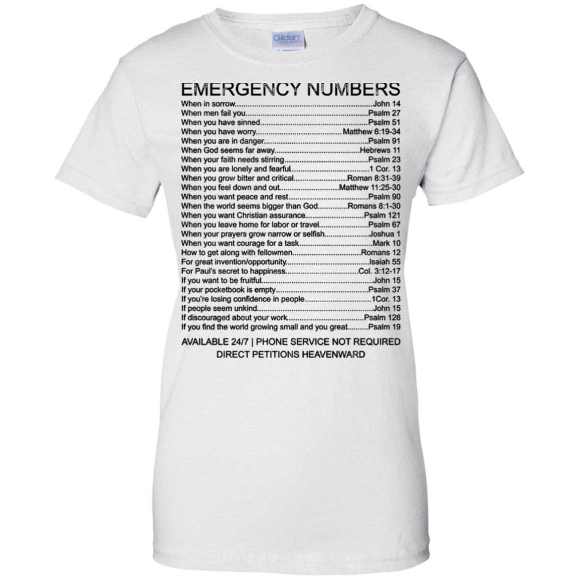 Bible Emergency Numbers T-Shirt - Back Shirt